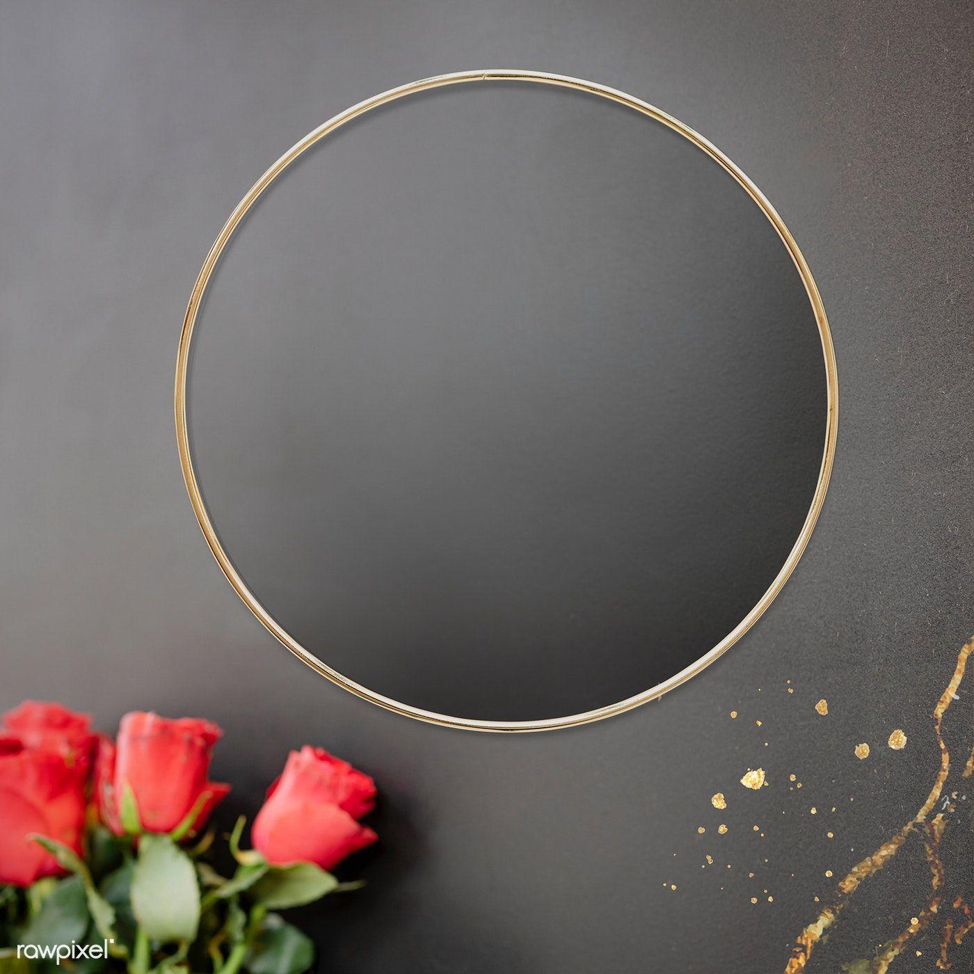 Download Premium Psd Of Golden Floral Frame On A Black Background 1212803