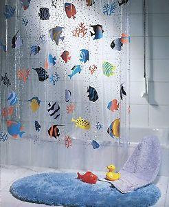 Spirella Fish Peva Clear Plastic Shower Curtain 180 X 200 Cm