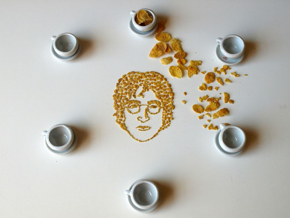 John Lennon / 9 Celebrity Portraits Made From Corn Flakes Cereal