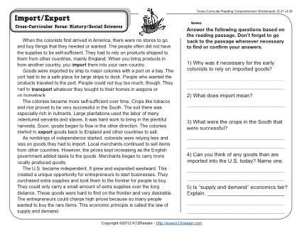 Import Export | Other, Comprehension and Common core standards