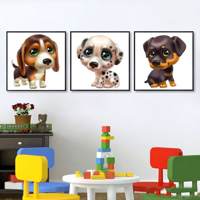 Lovely Animal Painting 3 Pieces Cute Dog Canvas Artwork 3d Cartoon Puppy Wall Hanging Picture For Baby Kids Bedroo Dog Canvas Art Kids Bedroom Decor Dog Canvas
