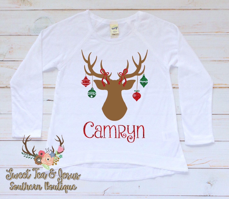 girls christmas shirt baby girl christmas shirt toddler girl christmas shirt christmas antler