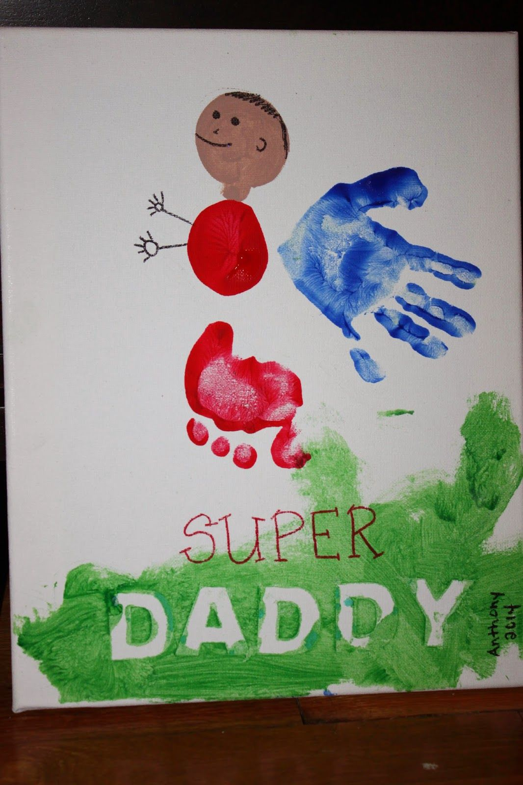 Super hero DAD hand/footprint craft. Perfect for Father\'s Day ...
