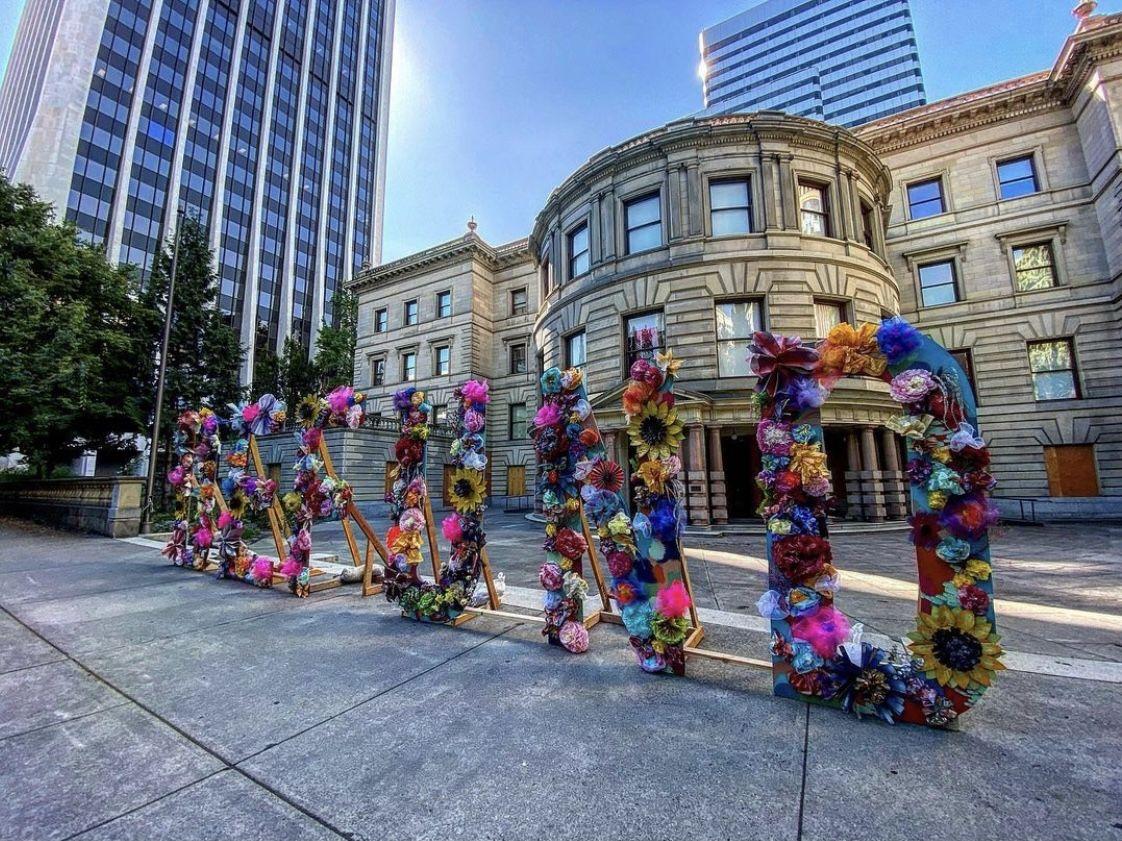 Portland Defund Flower Art Installation Installation Art Flower Art Weekend Is Over