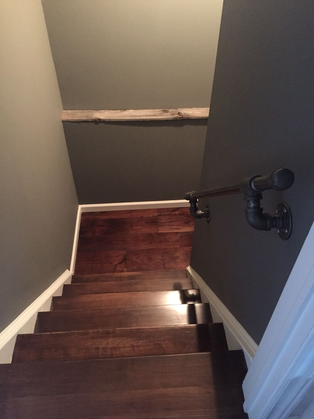 Best Gas Line Piping Handrail And New Wood Stairs Basement 640 x 480