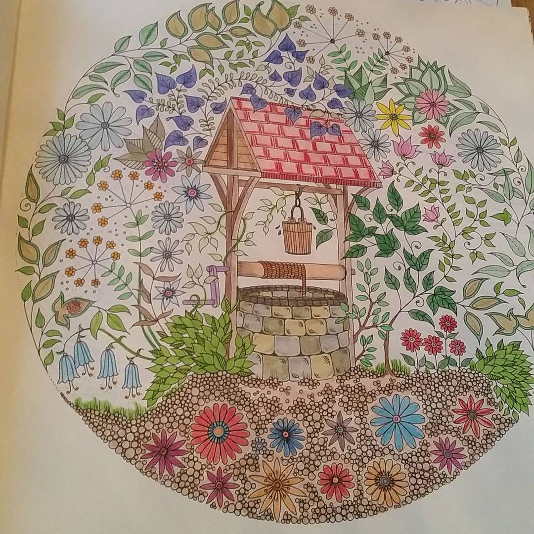 Joanna Basford Wishing Well Colouring Coloring Books Secret Gardens Fountain Vintage Pages