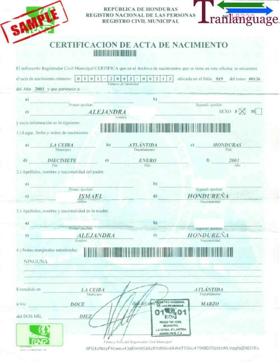 Explore Our Sample of Translate Birth Certificate From