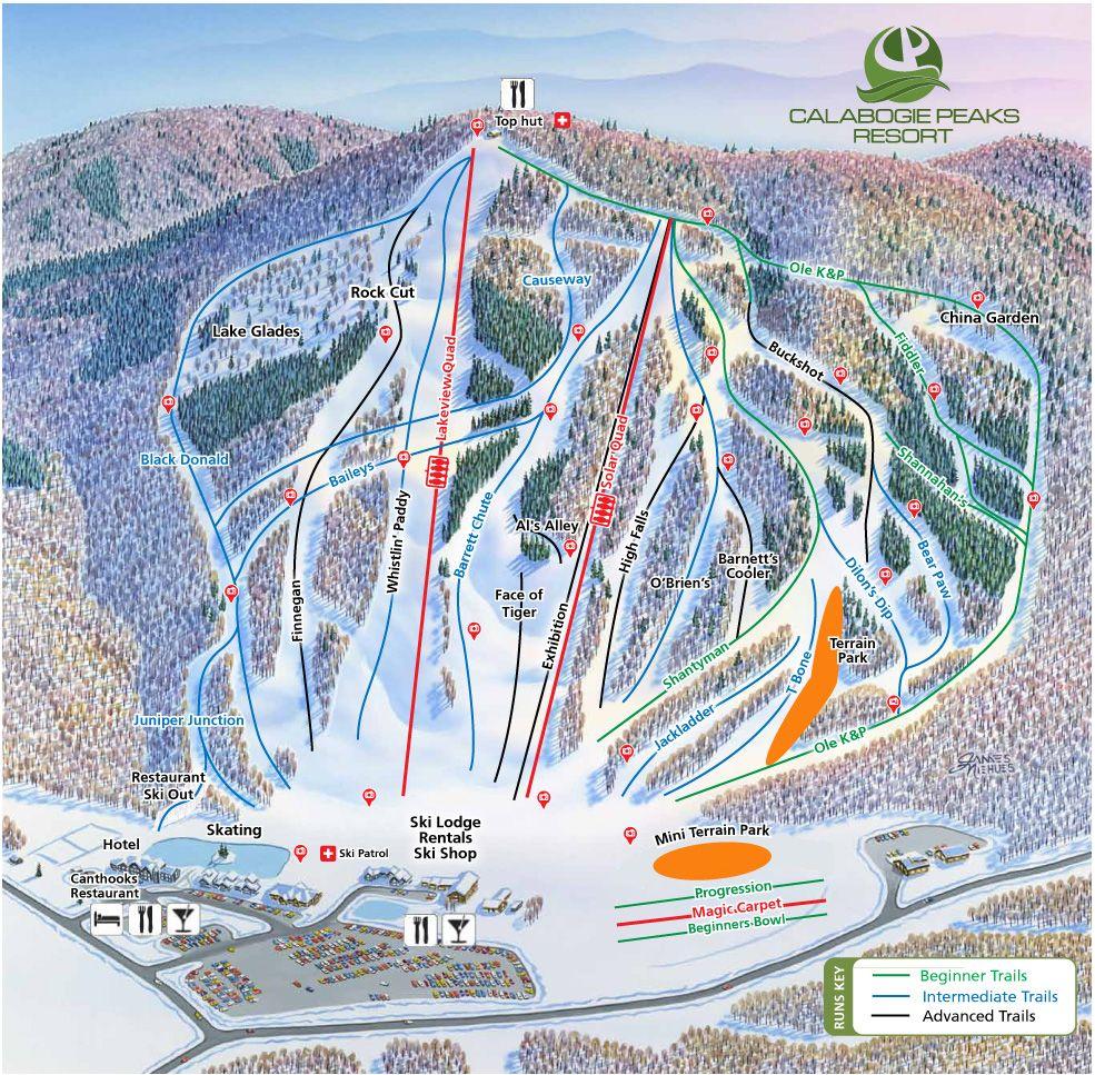 ski trail map   calabogie peaks resort   skiing   snowboarding