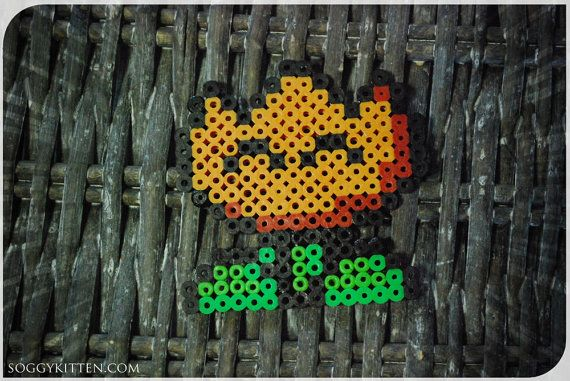 Fire Flower Super Mario World SNES Perler Bead Sprite Art