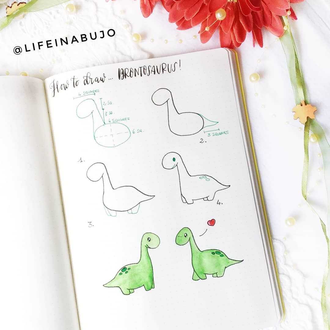 60 How to Doodle Tutorials for Your Bullet Journal #dinosaur