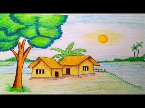 How To Draw Landscape Scenery Of Beautiful Nature Step By Step Youtube Nature Drawing Drawing Scenery Scenery Drawing For Kids