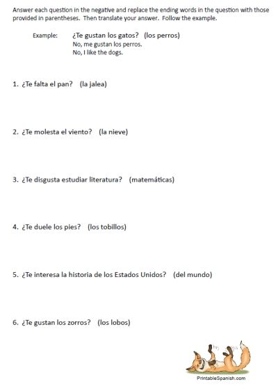 Verbs like gustar worksheet pdf