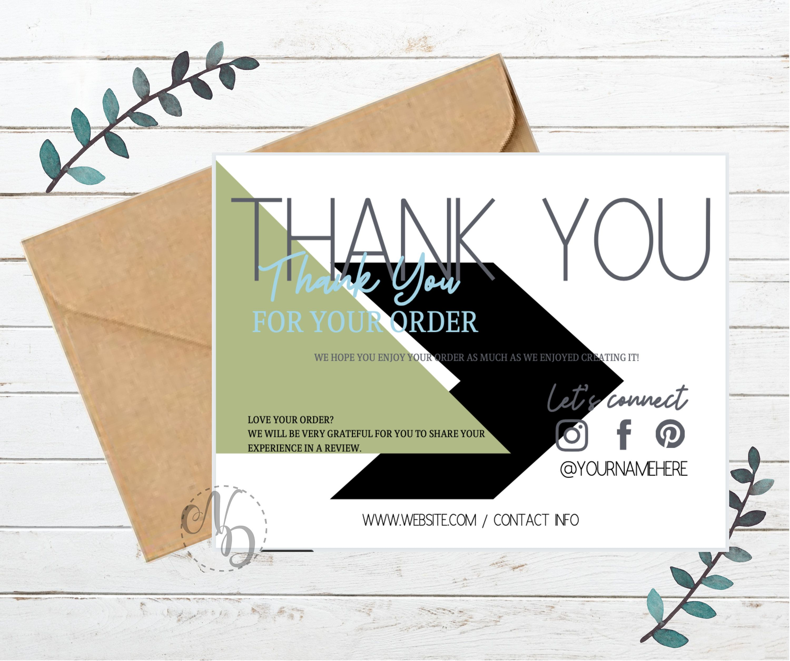 Customizable Thank You Card Template Small Business Editable Canva Instant Download By Natashadivon On Etsy Agendas Buenos Dias
