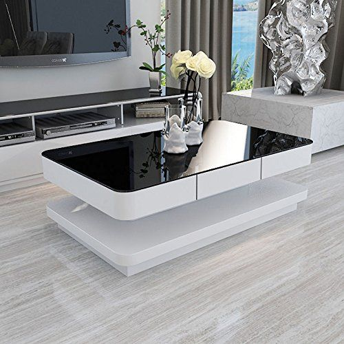 Attirant UEnjoy Gloss Coffee Table White With Drawers And Black Tempered Glass Top Living  Room Furniture