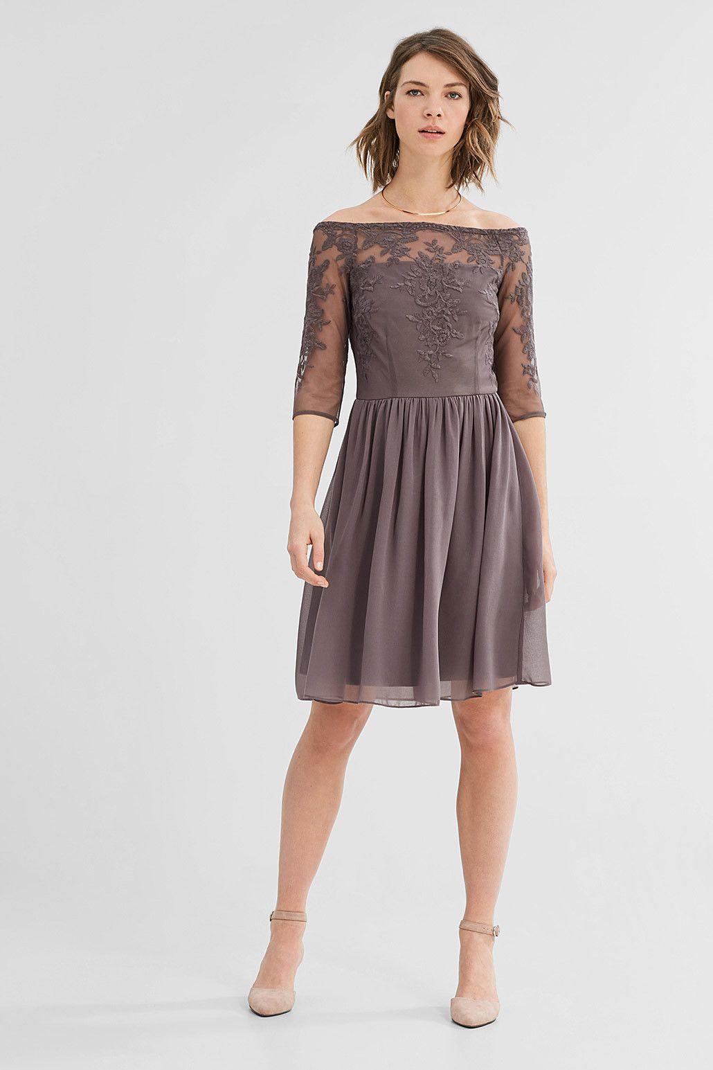 Kleid Shoulder Online Esprit Aus Besticktem Shop Tüll Im Off tQdChrs