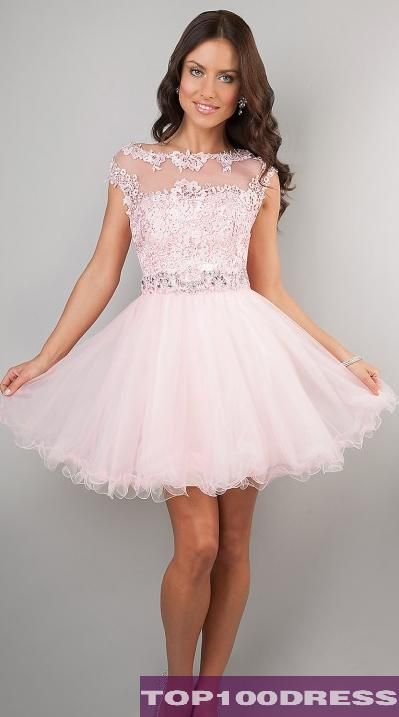 20a3efeee716 Shop Simply Dresses for pink party dresses with lace and lace short  homecoming dresses. Cap sleeve short pink prom dresses by Dave and Johnny.