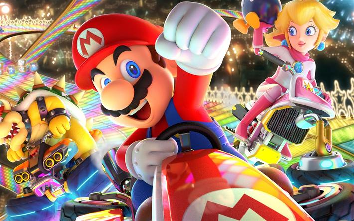 Download wallpapers 4k, Mario Kart 8 Deluxe, poster, 2018