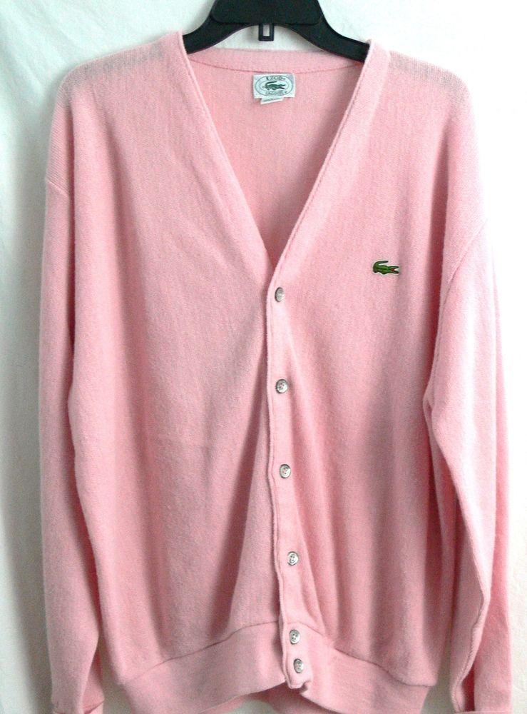 Vintage Izod Lacoste Sweater Mens Pink Orlon Acrylic Cardigan USA Size L #IzodLacoste #Cardigan