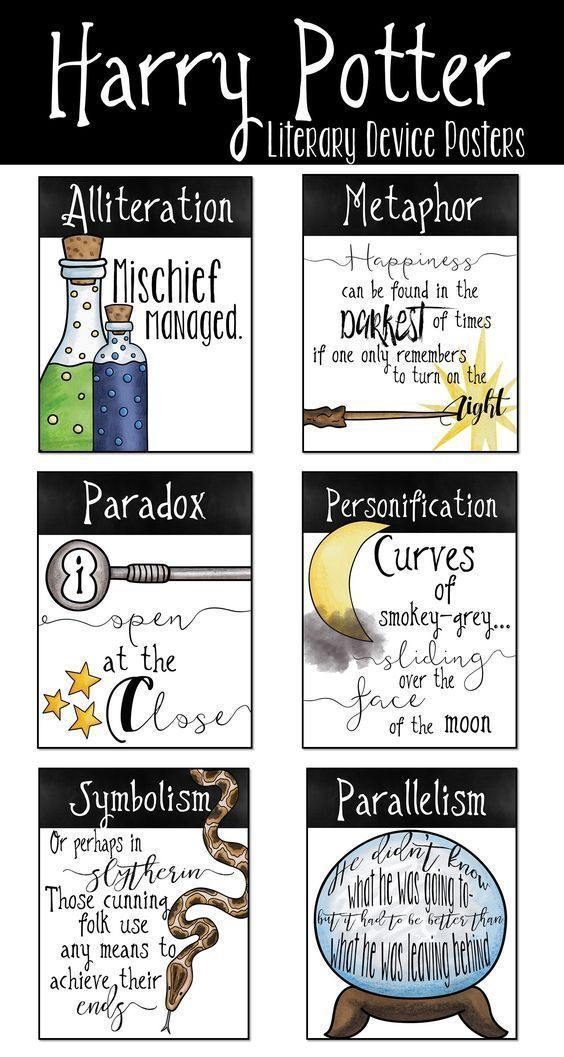 Harry Potter literary device poster set for Harry Potter classroom decor and Ha... - Harry Potter