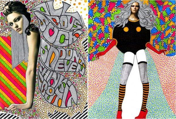 nikki farquharson mix media illustrations 6 600x405 Mixed Media Illustration Fashion Editorials