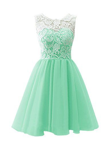 Women S Short Tulle Prom Dress Dance Gown With Lace Mint