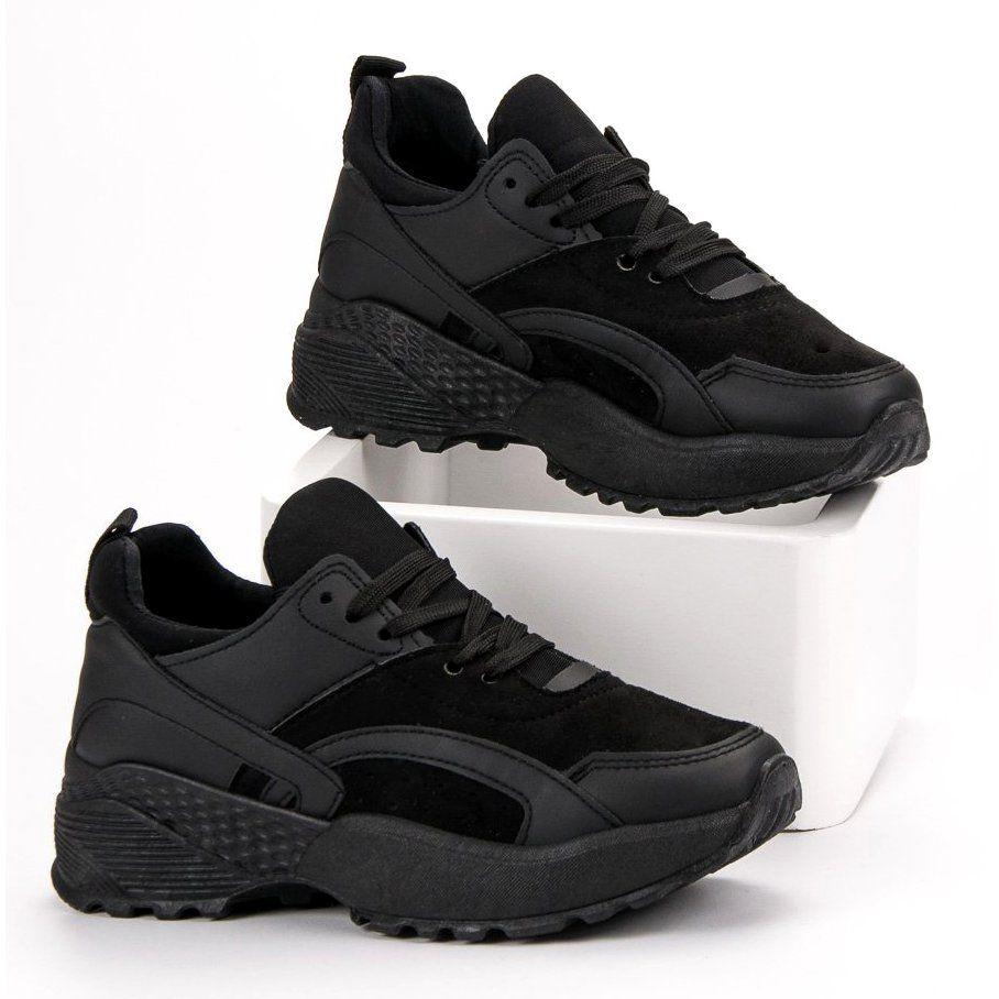 Small Swan Czarne Sneakersy Na Platformie All Black Sneakers Sneakers Nike Black Sneaker