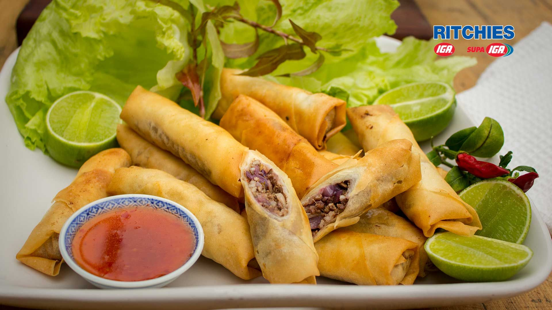 Crunchy, full flavoured Asian inspired finger food! These sticky pork spring rolls are a simple to make and delicious entree or snack!