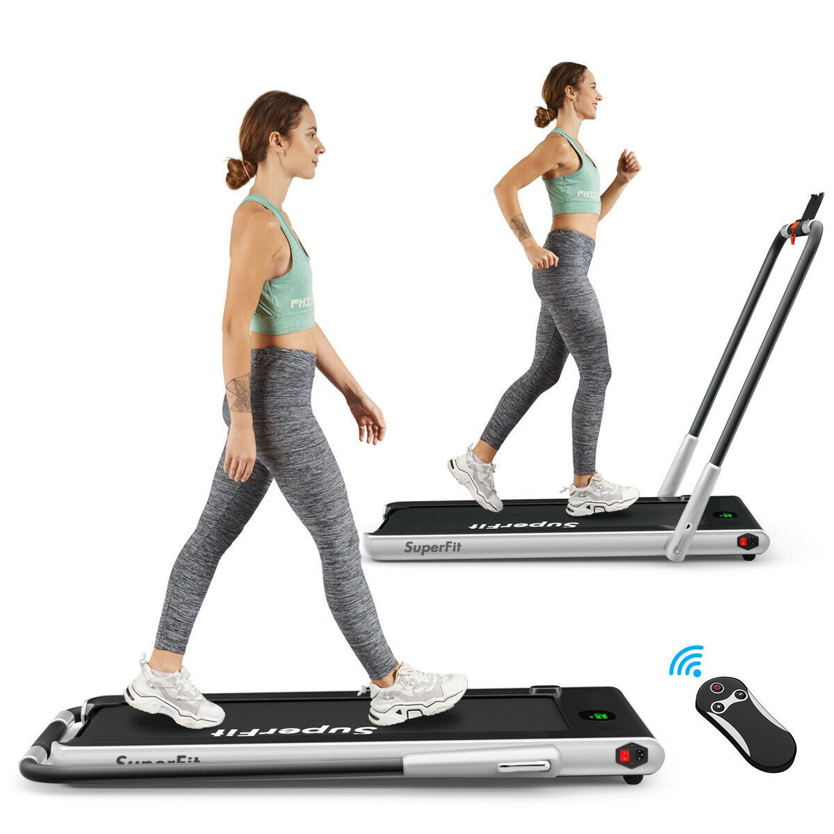 2 In 1 Folding Treadmill With Rc Bluetooth Speaker Led Display Foldable Treadmill Folding Treadmill Electric Treadmill