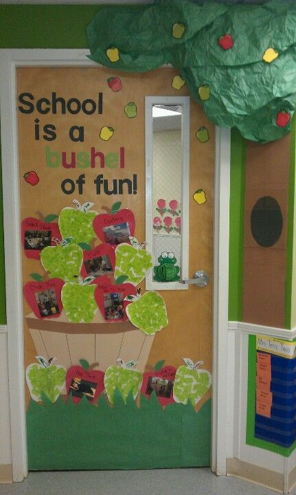 My september door display my kids made the green apples for Apple tree classroom decoration