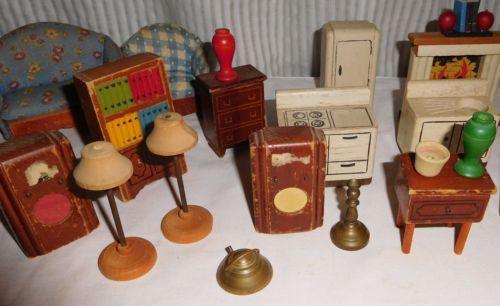 Vintage Kage Wood Dollhouse Furniture 38 Pieces Dollhouse