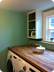 Butcher Block Counter Over Washer And Dryer