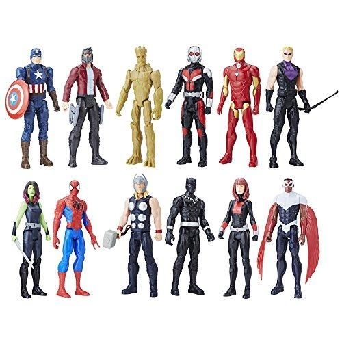 Marvel Titan Hero Series 12-inch Super Hero Action Figure 12-Pack Including Captain America, Iron Man, Spider-Man, Black Widow, Star-Lord, and more! (Gift Pack)