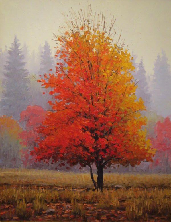 Mountain Maple Autumn Painting Tree Painting Autumn Art