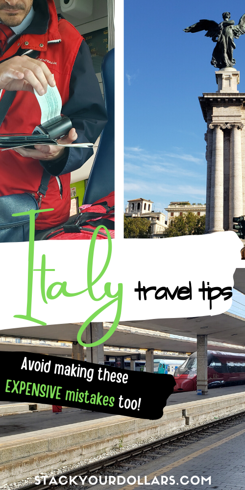 These Italy travel tips will help you with everything you need to know to have an enjoyable vacation in Italy. Learn what to wear in Italy, and the best places to visit in Italy if you're having a short vacation. If you're planning a trip to Italy on a budget, you'll be happy to know all these secrets to save money and enjoy some free things, too! These tips are especially helpful on your first trip to Italy, but will be helpful for others as well. #Italy #traveltips #Italytips #stackyourdollars