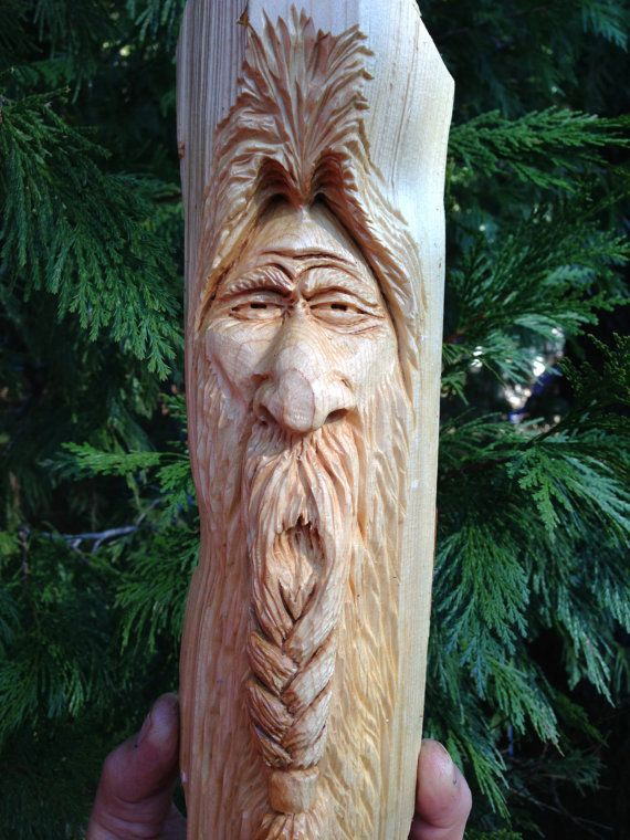 Hand carved braided beard viking wizard wood spirit by