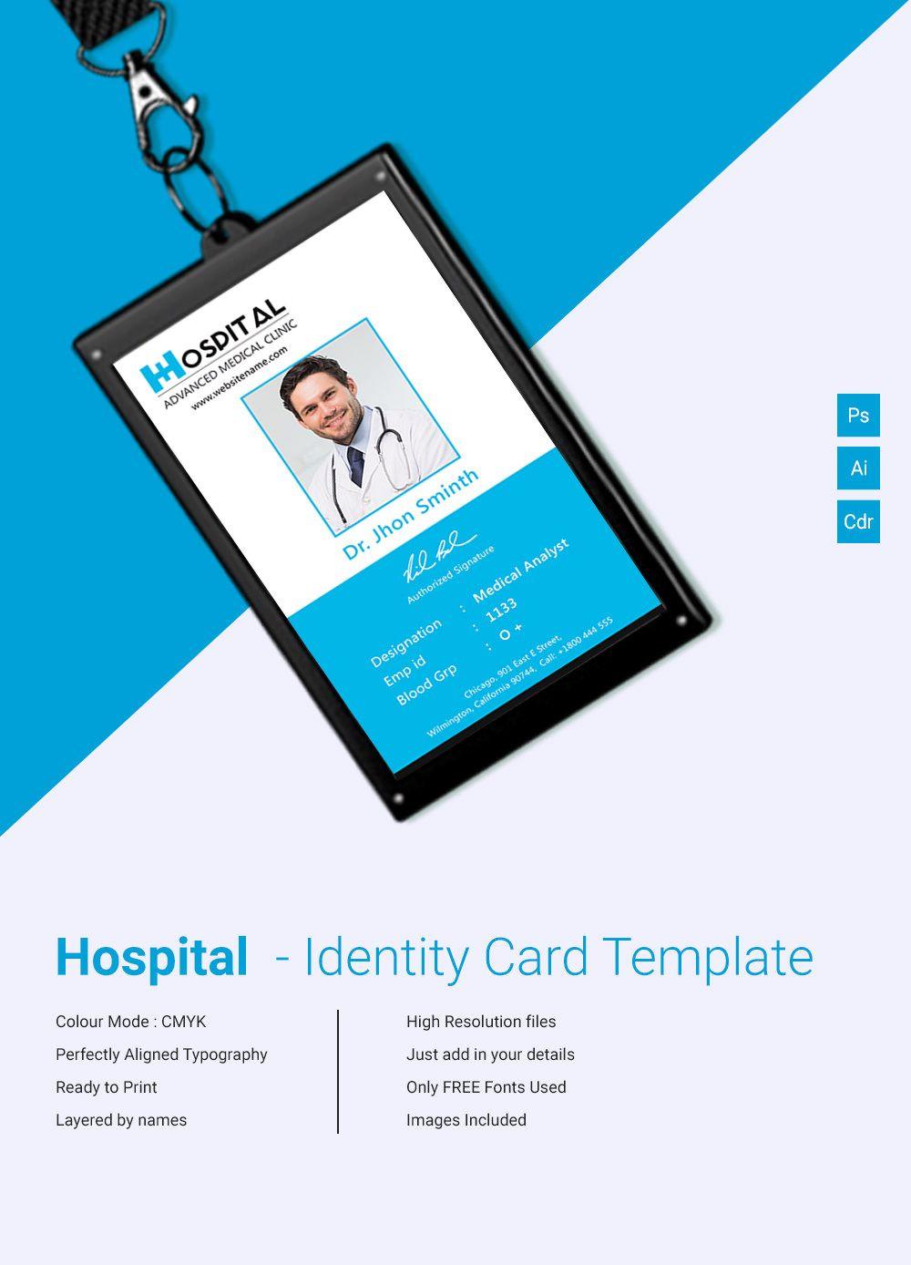 Free premium templates id card template employee id