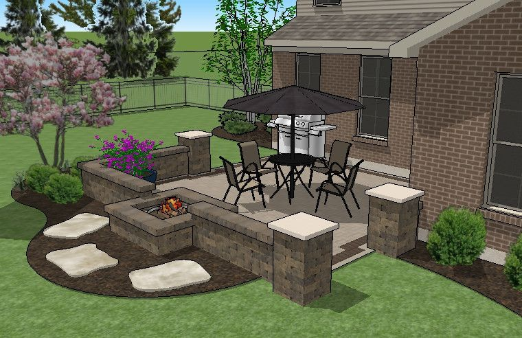 Perfect For 10 Bump Outs Our Diy Square Brick Patio Design With Seat Walls And Fire Pit Will Take You Step Diy Concrete Patio Small Brick Patio Brick Patios