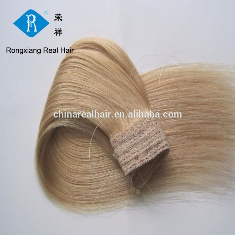 Double Drawn Human Hair Blonde Color Wholesale Halo Extensions