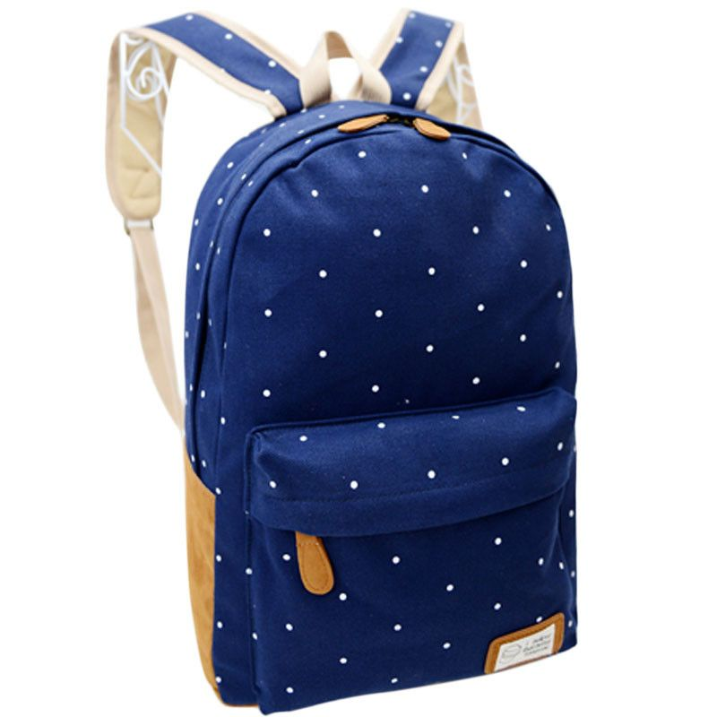 Photo of Women Girl Canvas Rucksack Polka Dot Backpack School Book Shoulder Bag BU bag 5029