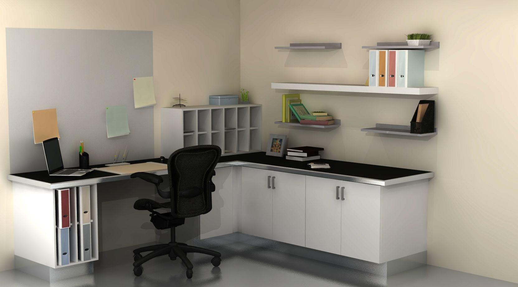 Compact Corner Desk And White File Also Floating