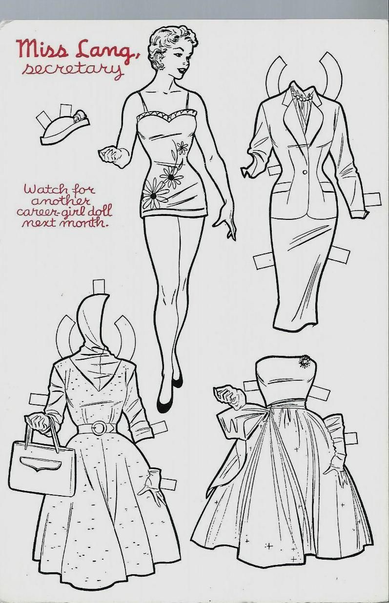 Miss Lang Secretary Career Girl Stella Marrs Paper Doll