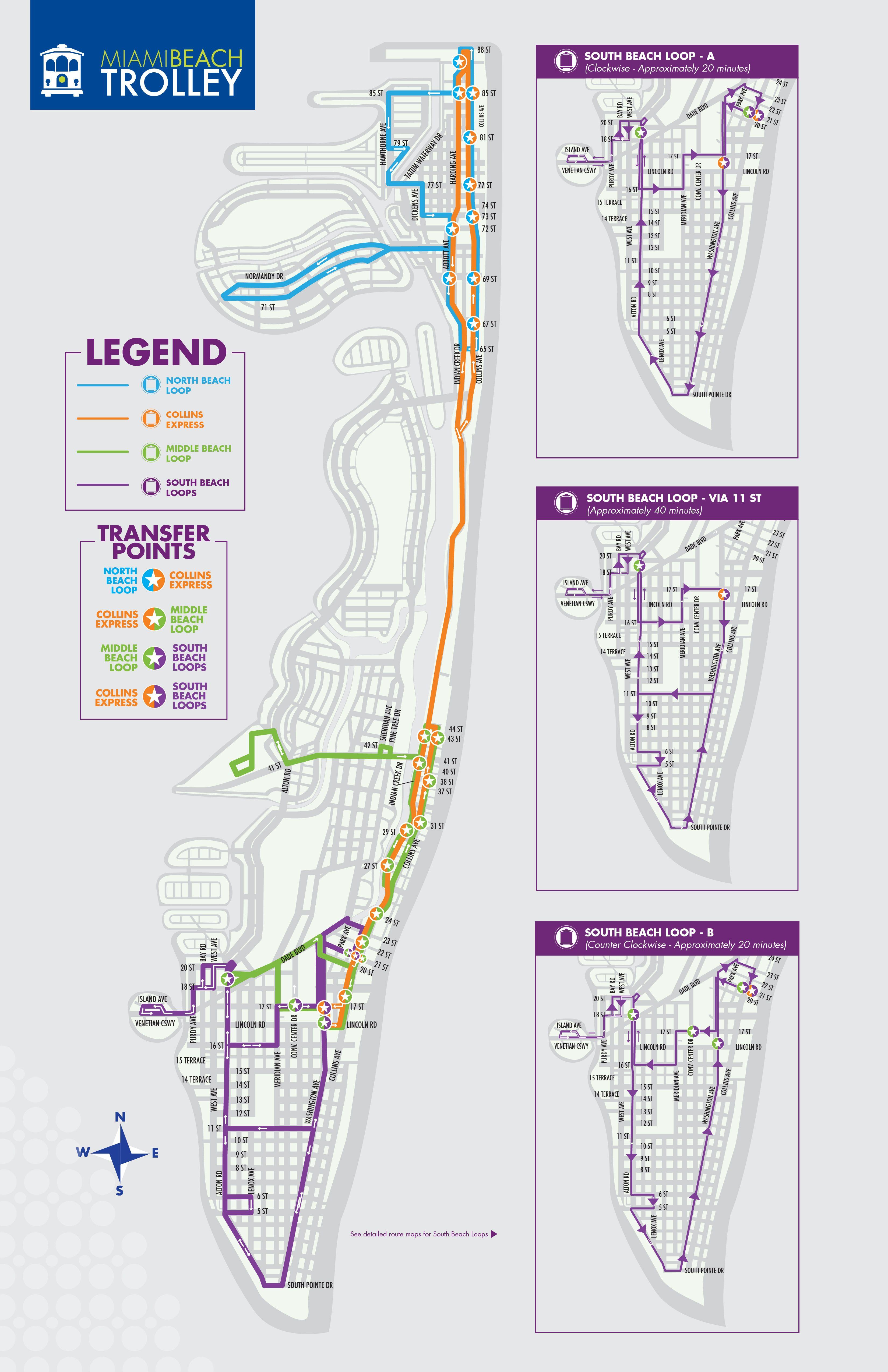Toda La Ciudad Trolley Free Ciudad De Miami Beach Miami Beach Map Map Of Miami Florida Miami Beach