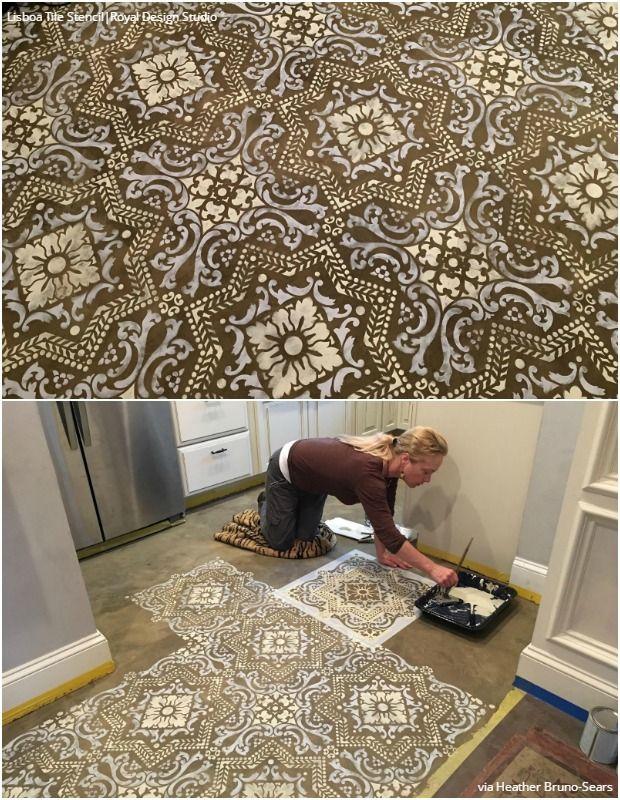 Easy Diy Fix Concrete Floor Stencils Painted Floors Stenciled Painting