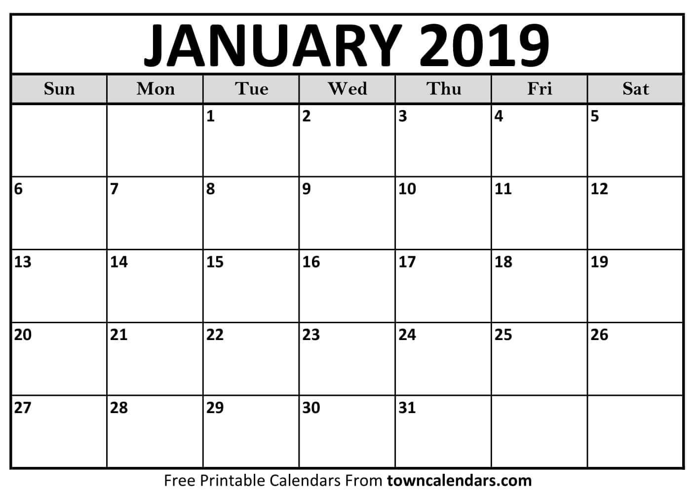 Printable January 2019 Calendar Free January 2019 Calendar