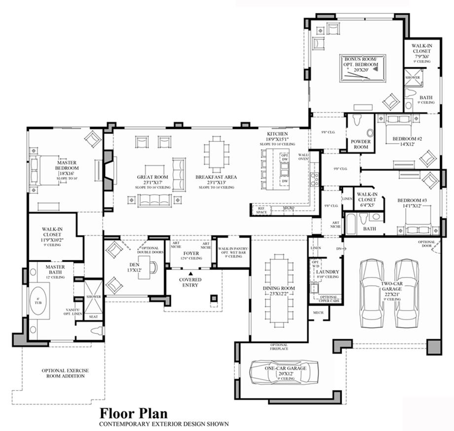 modern ranch floor plans - 920×873