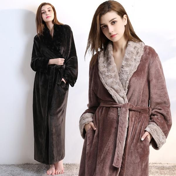 Women Men fur Neck Thick Warm Long Flannel Bathrobe Plus Size Kimono Bath  Robe Winter Peignoir Dressing Gown Bridesmaid Robes c684d5909