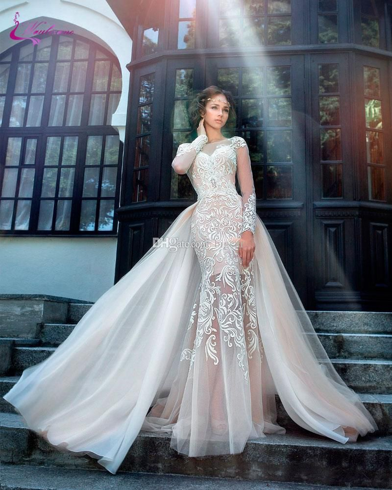 Long Sleeved Champagne Wedding Dress With Detachable Skirt