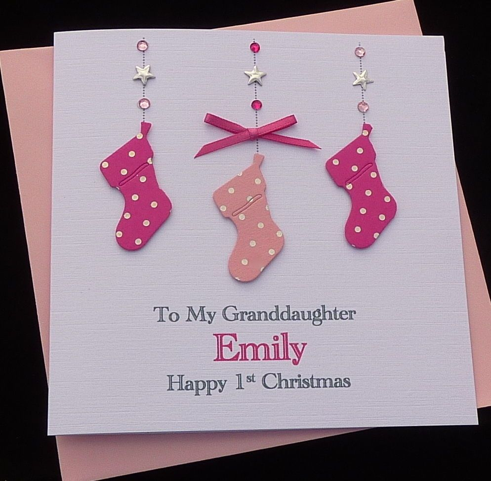 Personalised Baby/'s 1st First Christmas Card Granddaughter Sister Daughter Niece