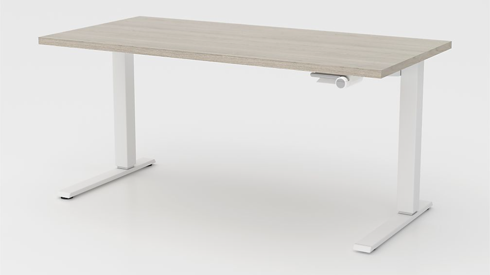 Humanscale Float Sit Stand 60 Ash Grey Desk Crate And Barrel In 2020 Grey Desk Adjustable Height Table Rustic Tabletop