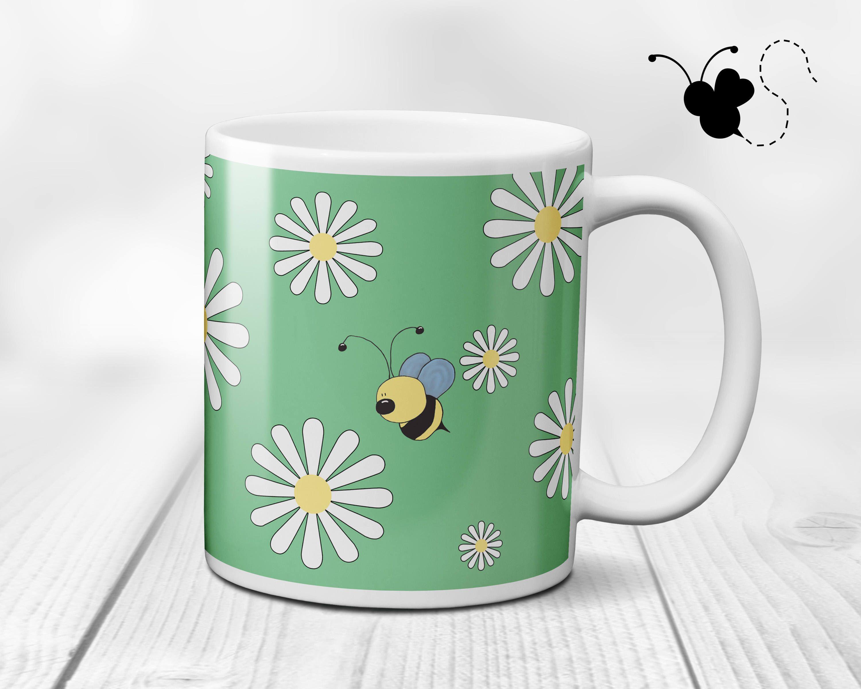 Bumble Bee Mug, Daisy Mug, Bumble Bee Gifts, Cute Mugs